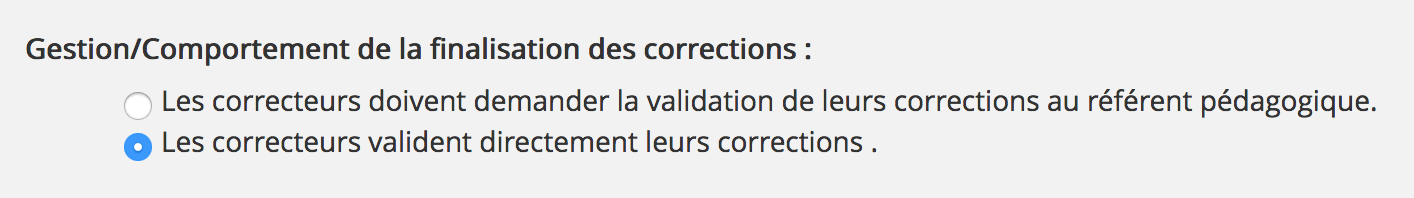 Comportement de la finalisation des corrections